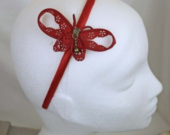 Red zipper butterfly hairband - zip hair accessory handcrafted by habercraftey - satin wrapped headband