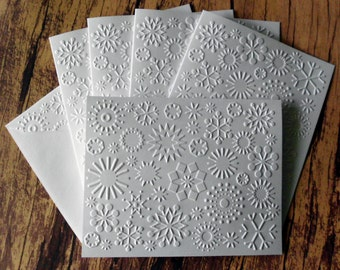 Snowflake Cards, Set of 5, White Embossed Christmas Cards, Winter Stationery, Note Cards, Holiday Greeting Card, Embossed Snowflake Card Set