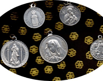 5 UNUSUAL DIFFERENT VINTAGE Catholic aluminium round medals for collectors
