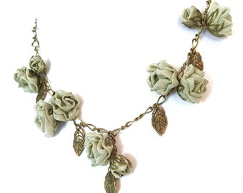 Sale!!!Handmade Fabric Roses Necklace Sage