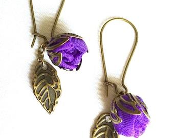 Handmade fabric rosebud Earrings Purple
