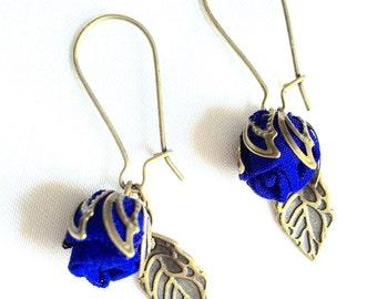 Handmade fabric rosebud Earrings Cobalt BLUE
