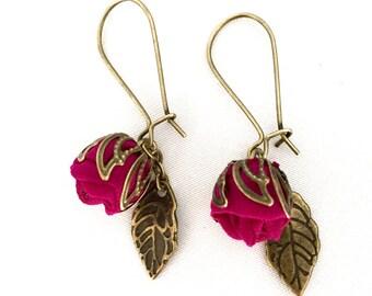 Handmade fabric rosebud Earrings Magenta