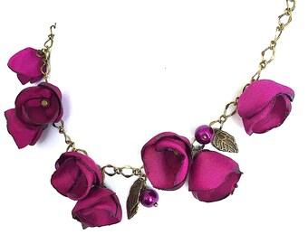 Sale!!!Handmade Satin Roses Necklace Magenta