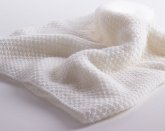 Unisex Super Soft 100% Cashmere Baby Blanket - 'White' - handmade in Scotland by Love Cashmere