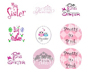 Big Sister, Princess, Pretty in Pink Bottle cap Image Instant Download