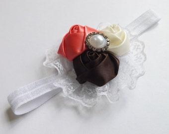 baby girl headband/lace headband/rosettes headband/flower headband/soft headband/infant headband/rhinestone headband/eleastic headband