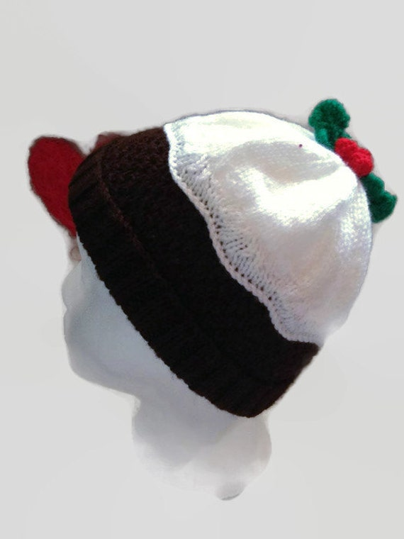 christmas pudding knitted hat. novelty hat by KnitSewCrafty1