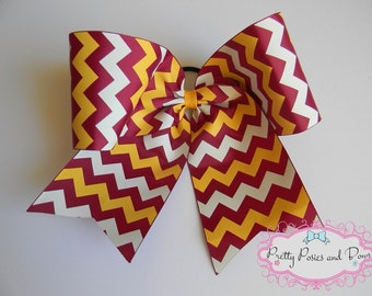 Maroon and Gold Cheer Bow, Maroon  and Gold Hair Bow, Maroon Cheer Bow, Gold Cheer Bow, Chevron Cheer Bow