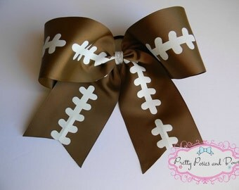 Football Cheer Bow, Footbal Hair Bow, Large Football Bow, Competition Cheer Bow
