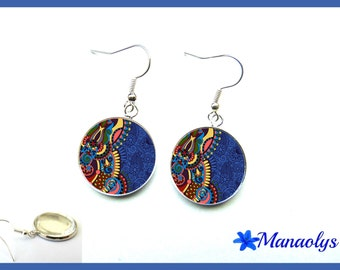 Earrings multicolor patterns blue background, glass cabochons