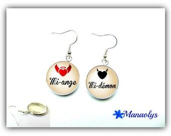 Mi-ange, half-demon, glass cabochons earrings