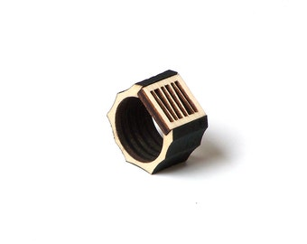 Stylish laser cut wooden men's ring - model 1/1