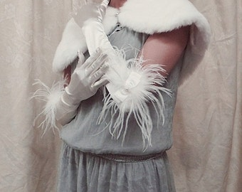 "15"" ivory satin ostrich rhinestone wedding gloves, a pair of elegance bride bridal gloves ,bridesmaid wedding party glove 5i"
