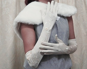 """19"""" Ivory Lycra embroidery long wedding gloves; a pair of elegance bride bridal gloves ,bridesmaid wedding party glove 234i"""