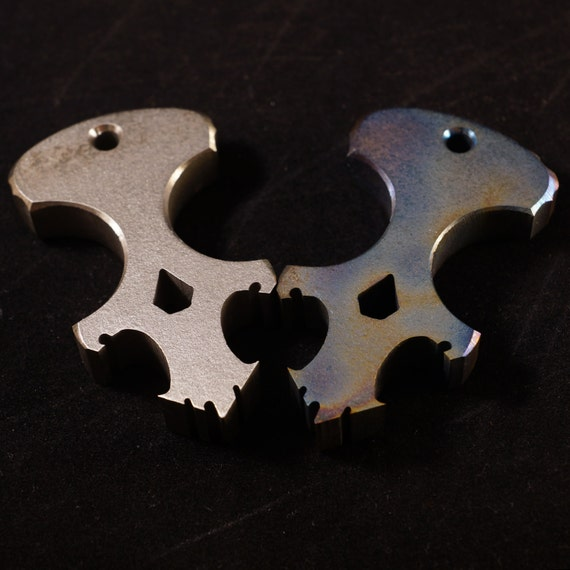 SALE Titanium Skully Dagger and Bottle Opener / titanium edc, keychain, american made, handmade