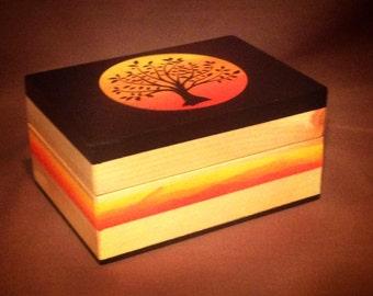 Handmade Wood Keepsake Box - Sunset