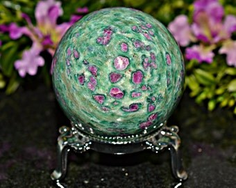 Top Quality Ruby With Fuchsite Sphere, 54 MM Ruby With Fuchsite Sphere