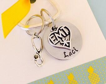 emt, EMT Keychain, EMT Gift,  Personalized keychain, Emergency Medical Technician Keychain, Emt Graduate, EMT Gift