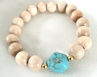 Wood, turquoise and gold beaded bracelet, wood, turquoise and silver beaded bracelet