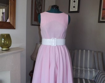 Pink/White Check Handmade Vintage Style Dress UK 16