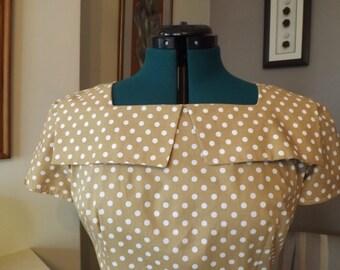Lovely Polka Dot Handmade Vintage Style Dress UK 12