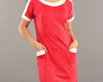 Contrast casual dresses Red office dress with pockets Business woman short sleeve dress Simple Autumn Dress