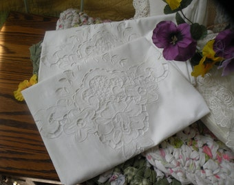 French Country Large Lace Pillow Shams(2)  Button Back