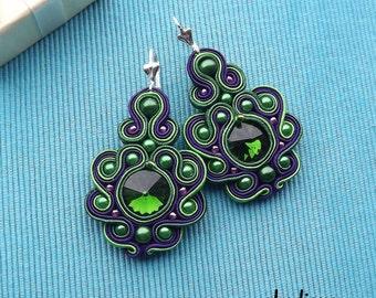 Rivoli Green & Violet  Soutache Earrings