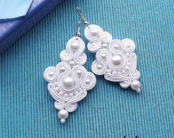 Simply White,  Soutache Earrings, Wedding, Bride