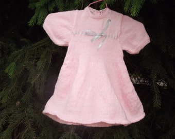 elegant and ample dress knitted pink wool