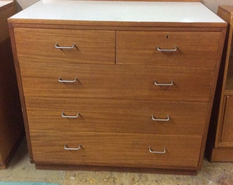 1970s Formica topped rare teak chest of drawers mid century two over three chest