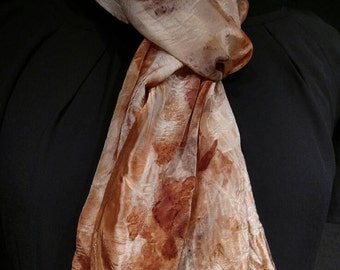 Eco printed scarf, 100% Silk, dyed using only nature
