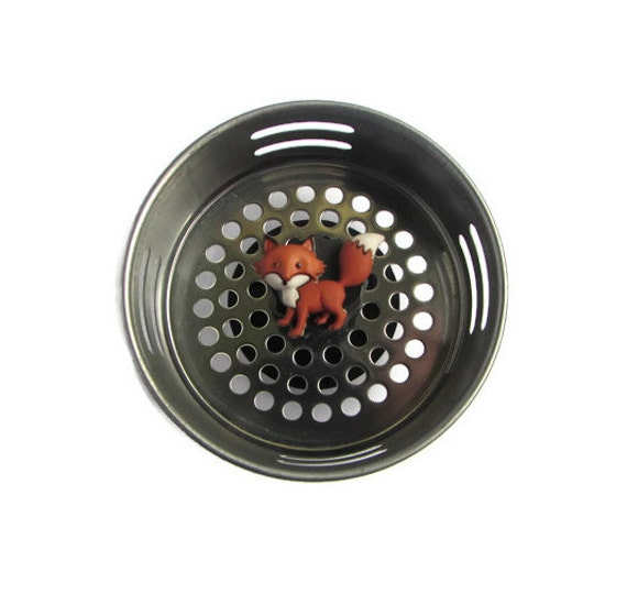 Sink strainer water drain fox decor fox items woodland - Decorative kitchen sink strainers ...