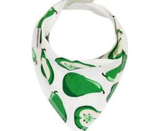 Green Pears Dribble Bib - Handmade Australian Adjustable Bib for Baby Boys & Girls - Made in Sydney