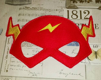 The Flash super hero inspired mask ITH Project In the Hoop Embroidery Design Costume, Cosplay, Fancy dress, Masquerade, Photo booth, Prop.