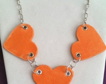 Hearts of Orange Heart leather Necklace - Made from recycled materials