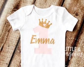 First Birthday Outfit, 1st Birthday Outfit, First Birthday Onesie, Personalized Girls Gold Pink Princess Shirt, 2nd Birthday