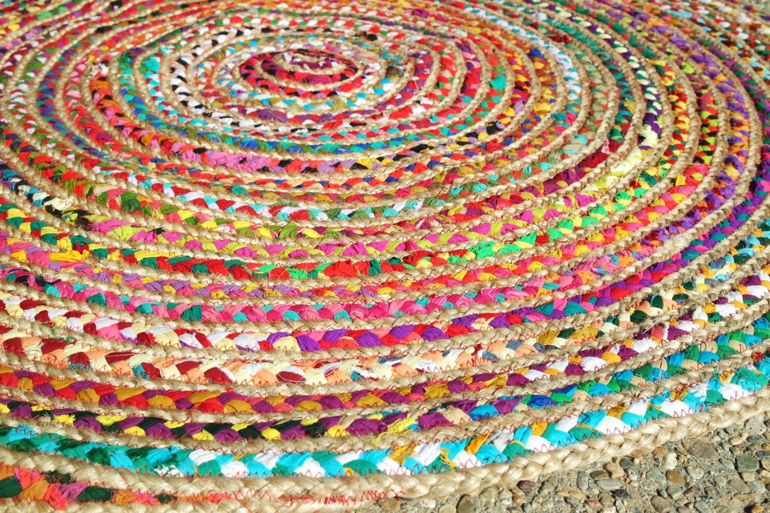 round rag rug boho chic hippie area rug 4 39 by yourgreateststory. Black Bedroom Furniture Sets. Home Design Ideas