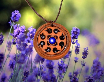 Aromatherapy pendant essential oil perfume necklace Terracotta Clay fragrance diffuser #G27