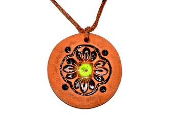 Clay Aromatherapy pendant essential oil perfume necklace Terracotta Clay fragrance diffuser #G33