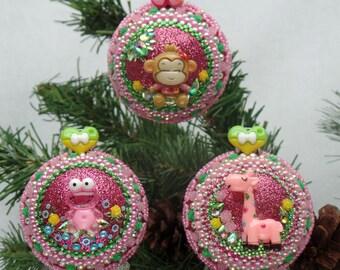 Baby Girl Silly Safari Giraffe, Monkey & Frog Christmas Ornament 3 piece Set