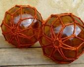 two sea glass ball /sea floats /nautical/fisherman/marine/ocean/fishing floats/macrame/marine decor