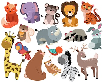 Cute Animals Clip Art - Set of 16 Hand Drawn 300 DPI Vector, PNG, and JPG Files - Adorable Animal Design Elements Digital Clipart Collection