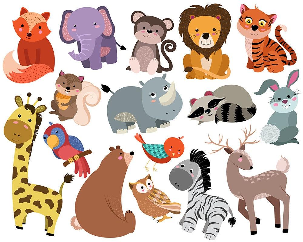 Cute Animals Clip Art Set of 16 Hand Drawn 300 DPI Vector