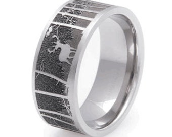 Deer Scene Wedding Ring