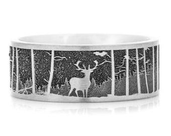 Deer Scene Wedding Ring