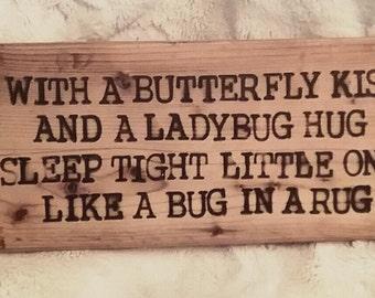 "Rustic Wood Burned Sign ""Sleep Tight Little One"""