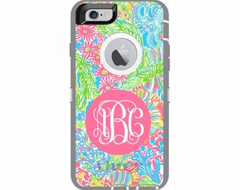 Monogrammed Lilly Pulitzer Inspired Otterbox Defender Case - iPhone 7 & 7 Plus, iPhone 6 and 6 Plus, iPhone 5s and iPhone SE, iPod Touch