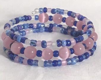 Blue beaded bracelet, blue bracelet, pink bracelet, pink beaded bracelet, wrap bracelet, memory wire bracelet